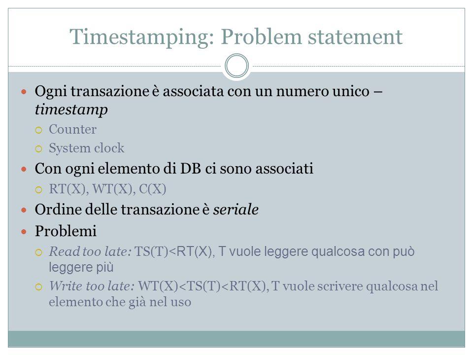 Timestamping: Problem statement Ogni transazione è associata con un numero unico – timestamp Counter System clock Con ogni elemento di DB ci sono associati RT(X), WT(X), C(X) Ordine delle transazione è seriale Problemi Read too late: TS(T) <RT(X), T vuole leggere qualcosa con può leggere più Write too late: WT(X)<TS(T)<RT(X), T vuole scrivere qualcosa nel elemento che già nel uso