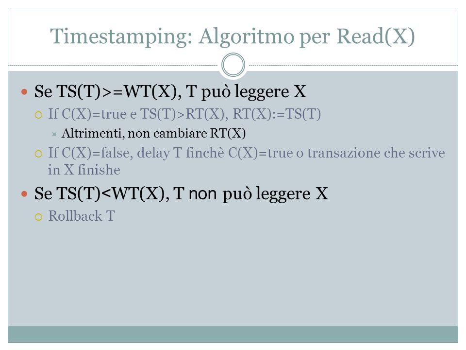 Timestamping: Algoritmo per Read(X) Se TS(T)>=WT(X), T può leggere X If C(X)=true e TS(T)>RT(X), RT(X):=TS(T) Altrimenti, non cambiare RT(X) If C(X)=false, delay T finchè C(X)=true o transazione che scrive in X finishe Se TS(T) < WT(X), T non può leggere X Rollback T