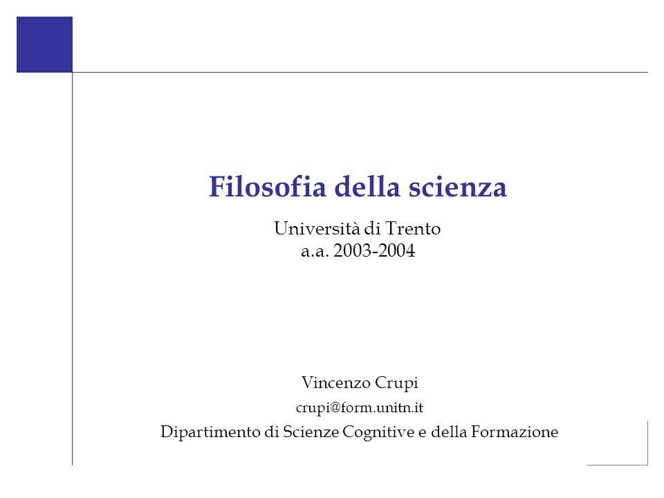 Università di Trento a.a. 2003-2004 Filosofia della scienza Vincenzo Crupi crupi@form.unitn.it Dipartimento di Scienze Cognitive e della Formazione