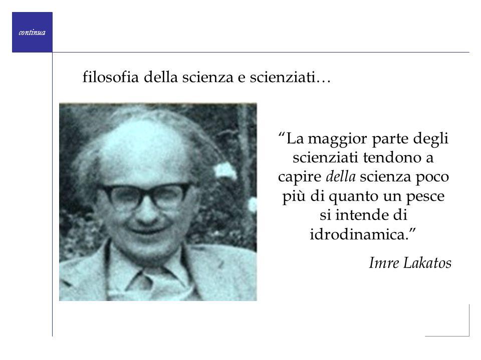 La maggior parte degli scienziati tendono a capire della scienza poco più di quanto un pesce si intende di idrodinamica. Imre Lakatos continua filosof