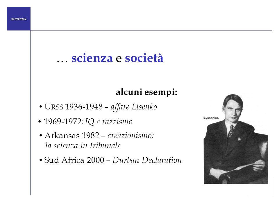 continua alcuni esempi: … scienza e società U RSS 1936-1948 – affare Lisenko Arkansas 1982 – creazionismo: la scienza in tribunale Sud Africa 2000 – D