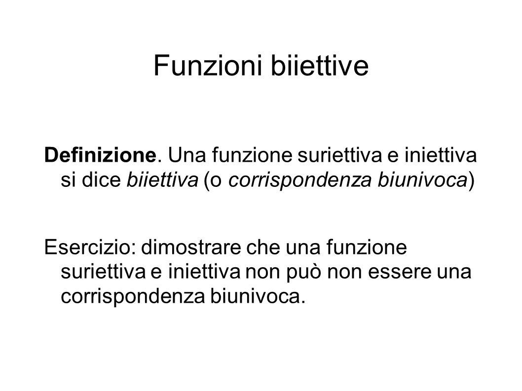 Funzioni biiettive Definizione.