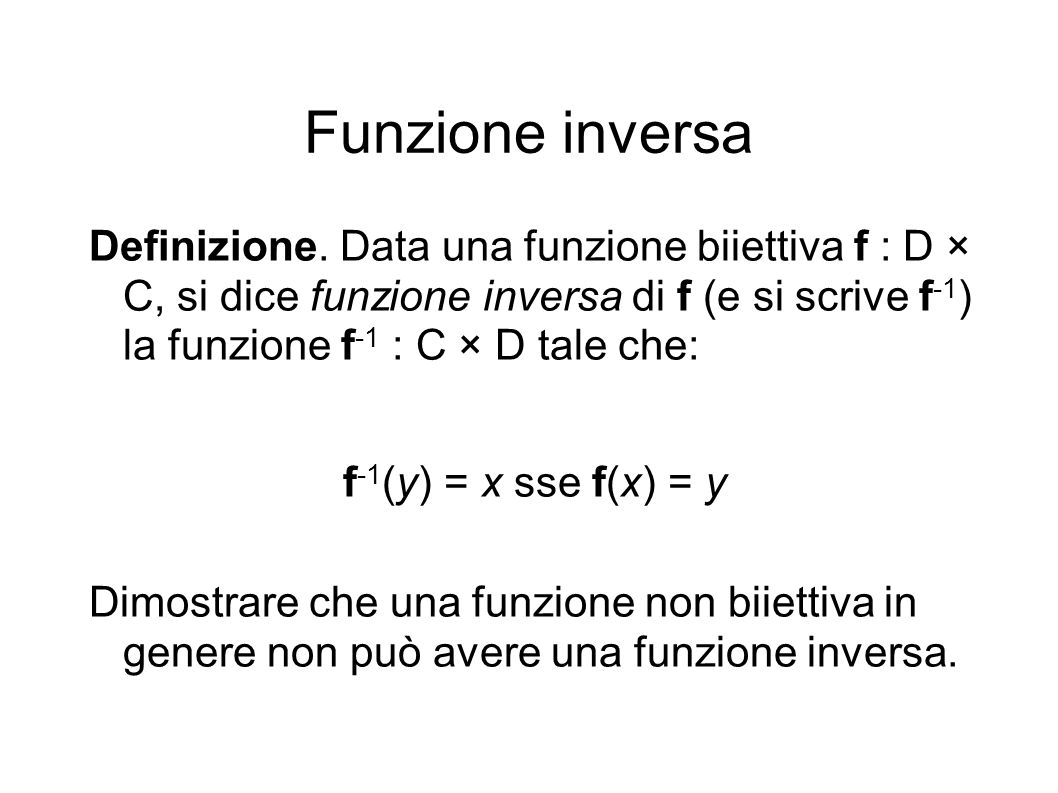 Funzione inversa Definizione.