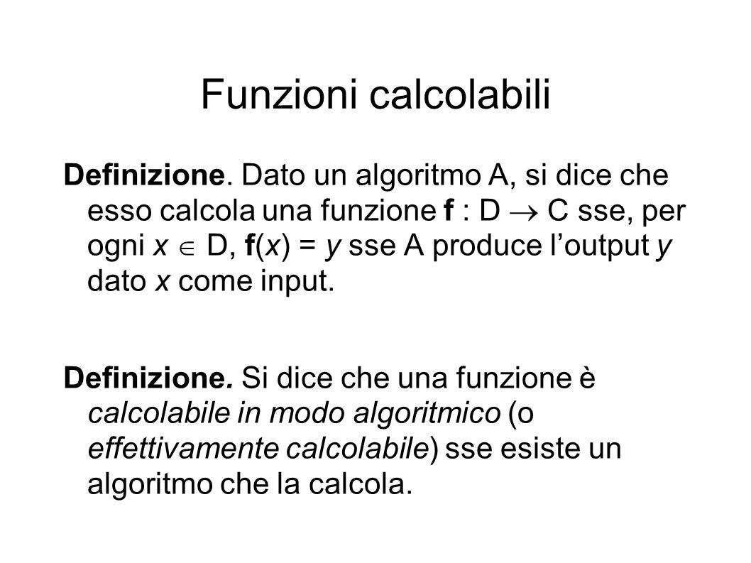 Funzioni calcolabili Definizione.