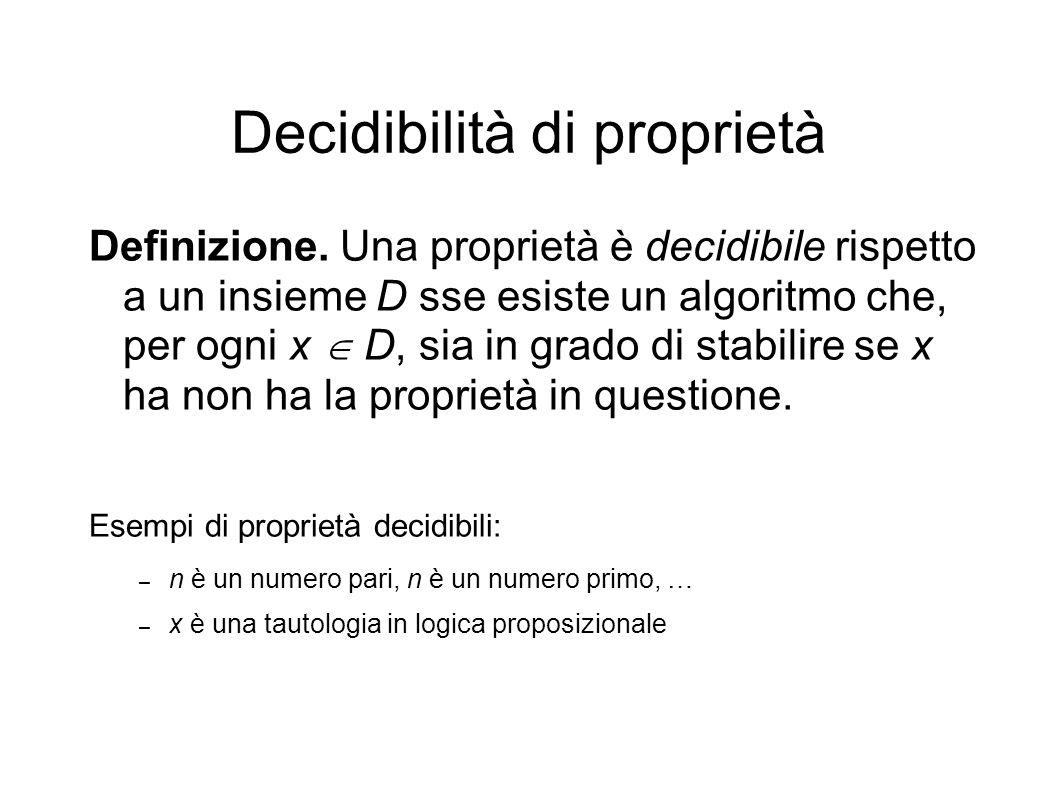 Decidibilità di proprietà Definizione.