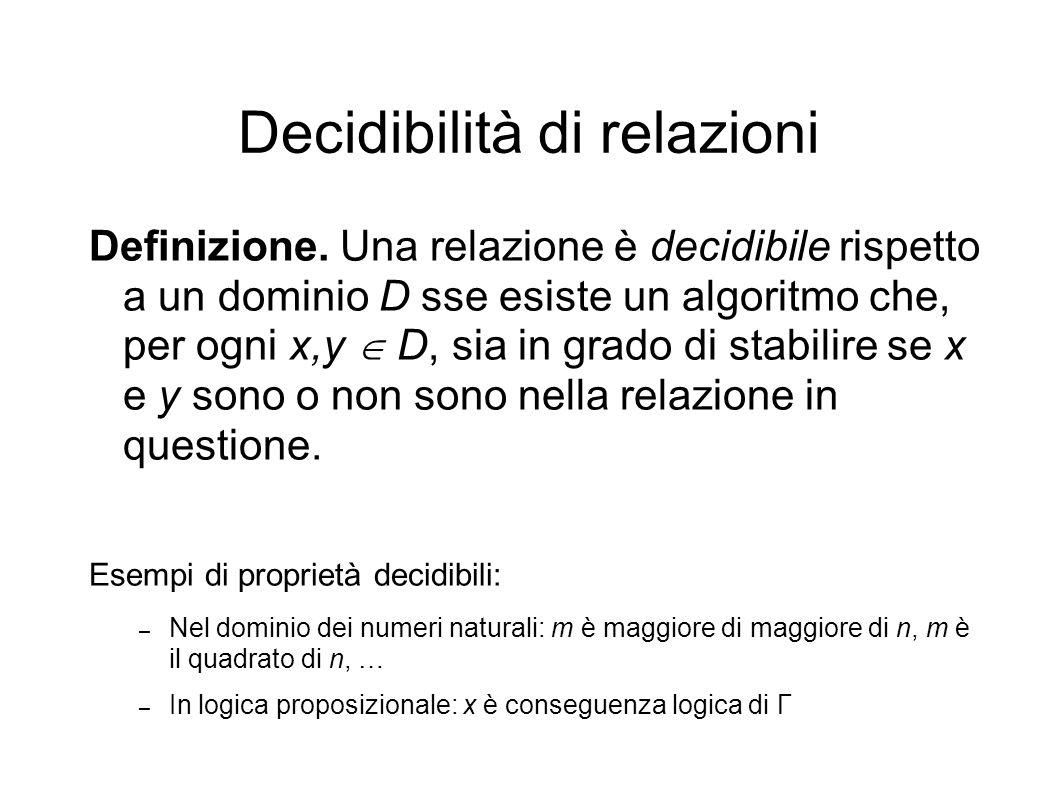 Decidibilità di relazioni Definizione.