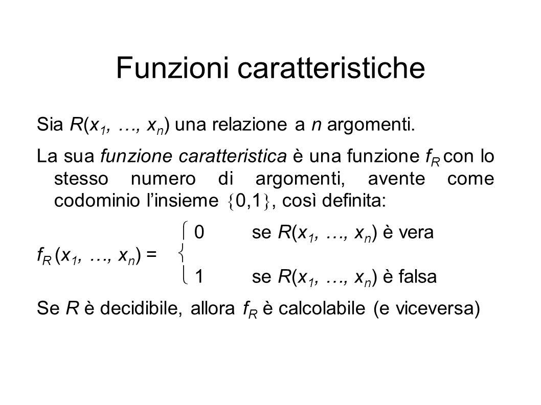 Funzioni caratteristiche Sia R(x 1, …, x n ) una relazione a n argomenti.
