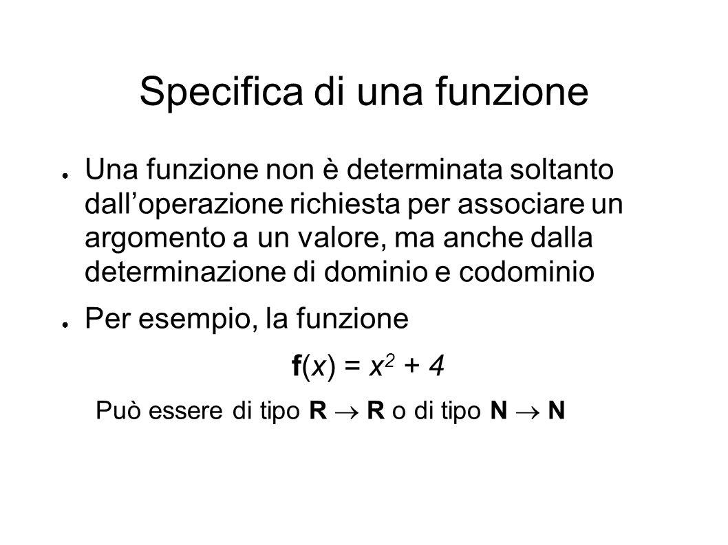 Specifica di una funzione Una funzione non è determinata soltanto dalloperazione richiesta per associare un argomento a un valore, ma anche dalla determinazione di dominio e codominio Per esempio, la funzione f(x) = x 2 + 4 Può essere di tipo R R o di tipo N N