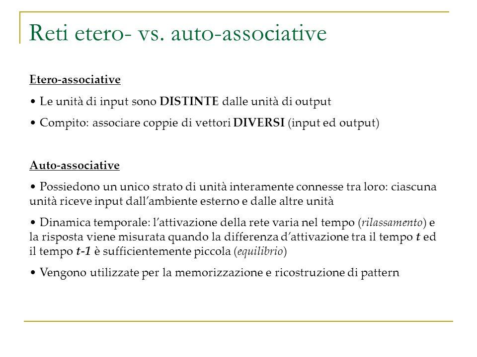 Reti etero- vs. auto-associative Etero-associative Le unità di input sono DISTINTE dalle unità di output Compito: associare coppie di vettori DIVERSI