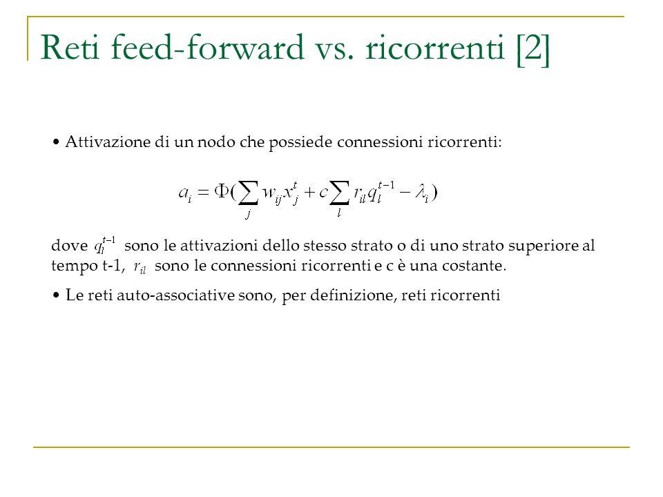Reti feed-forward vs. ricorrenti [2] dove sono le attivazioni dello stesso strato o di uno strato superiore al tempo t-1, r il sono le connessioni ric