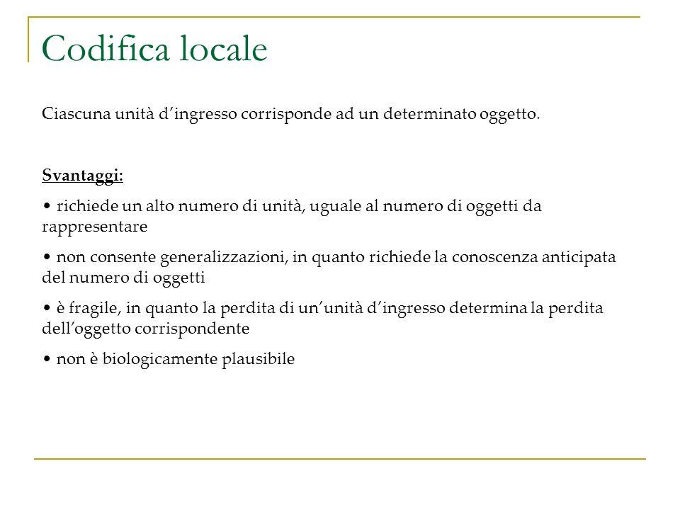 Codifica locale Ciascuna unità dingresso corrisponde ad un determinato oggetto. Svantaggi: richiede un alto numero di unità, uguale al numero di ogget