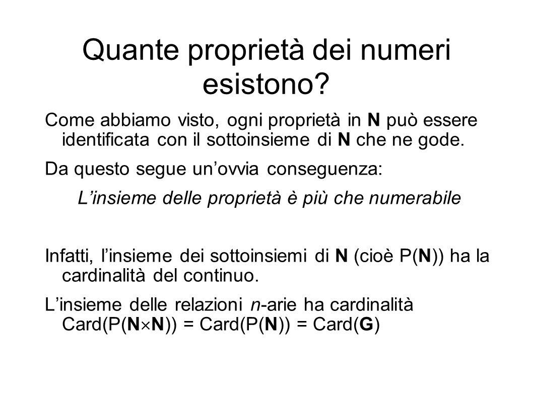 Quante proprietà dei numeri esistono? Come abbiamo visto, ogni proprietà in N può essere identificata con il sottoinsieme di N che ne gode. Da questo