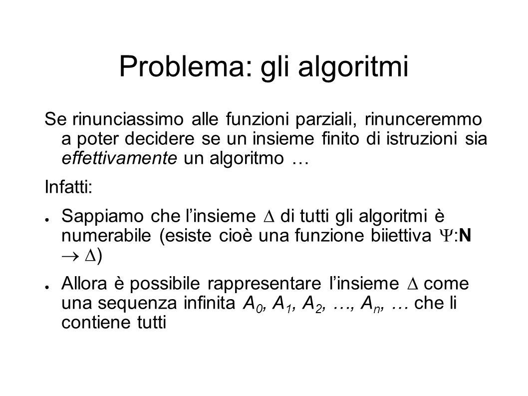 Problema: gli algoritmi Se rinunciassimo alle funzioni parziali, rinunceremmo a poter decidere se un insieme finito di istruzioni sia effettivamente u