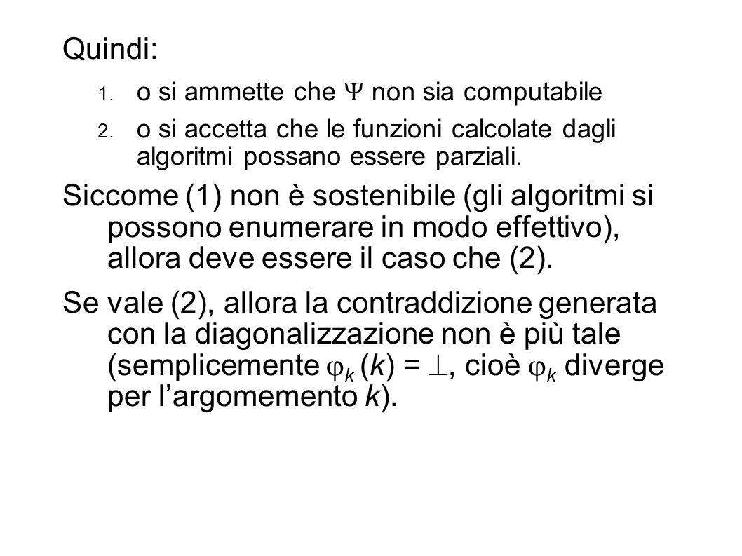 Quindi: 1. o si ammette che non sia computabile 2. o si accetta che le funzioni calcolate dagli algoritmi possano essere parziali. Siccome (1) non è s