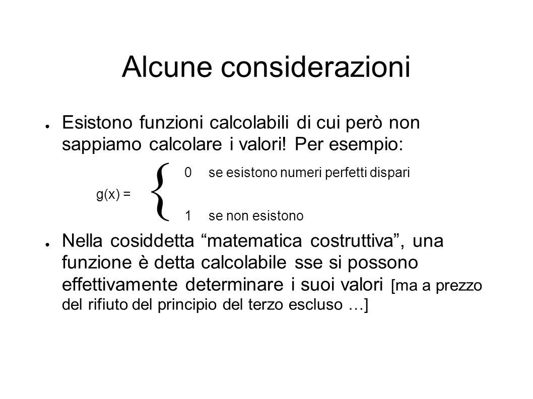 Alcune considerazioni Esistono funzioni calcolabili di cui però non sappiamo calcolare i valori! Per esempio: 0se esistono numeri perfetti dispari g(x