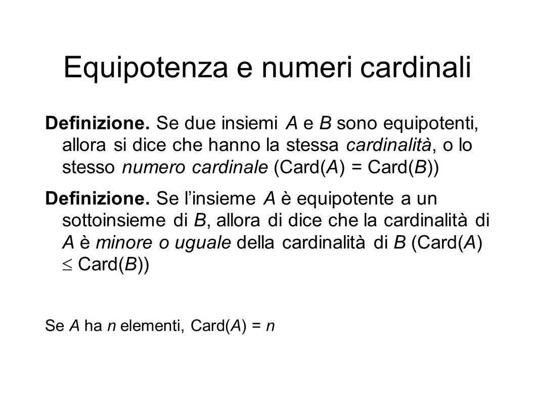 Equipotenza e numeri cardinali Definizione. Se due insiemi A e B sono equipotenti, allora si dice che hanno la stessa cardinalità, o lo stesso numero