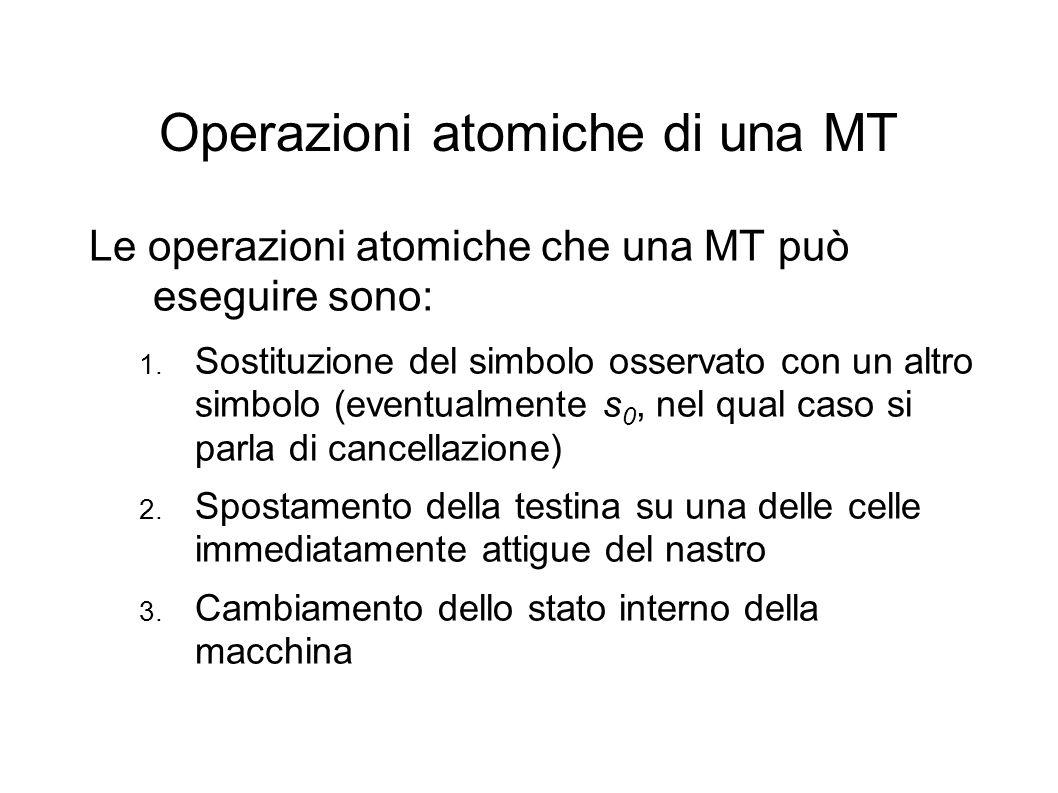 Operazioni atomiche di una MT Le operazioni atomiche che una MT può eseguire sono: 1. Sostituzione del simbolo osservato con un altro simbolo (eventua