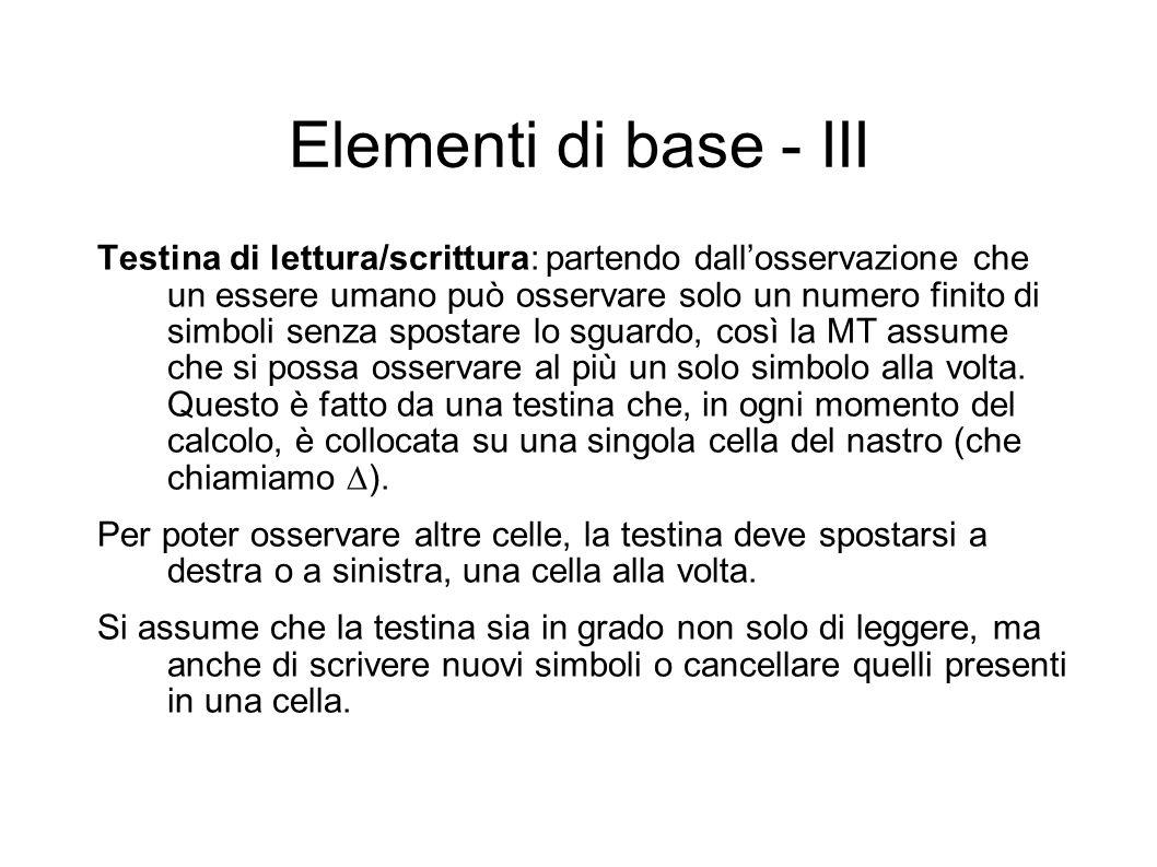 Elementi di base - III Testina di lettura/scrittura: partendo dallosservazione che un essere umano può osservare solo un numero finito di simboli senz