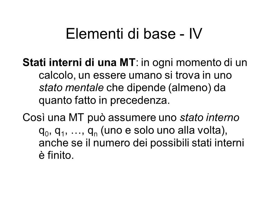 Elementi di base - V Configurazioni di una MT: a ogni passo di un calcolo, definiamo configurazione di una MT la coppia ordinata costituita dallo stato interno che essa presenta in quel momento e dal simbolo osservato dalla testina.