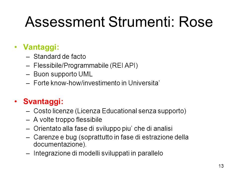 13 Assessment Strumenti: Rose Vantaggi: –Standard de facto –Flessibile/Programmabile (REI API) –Buon supporto UML –Forte know-how/investimento in Univ