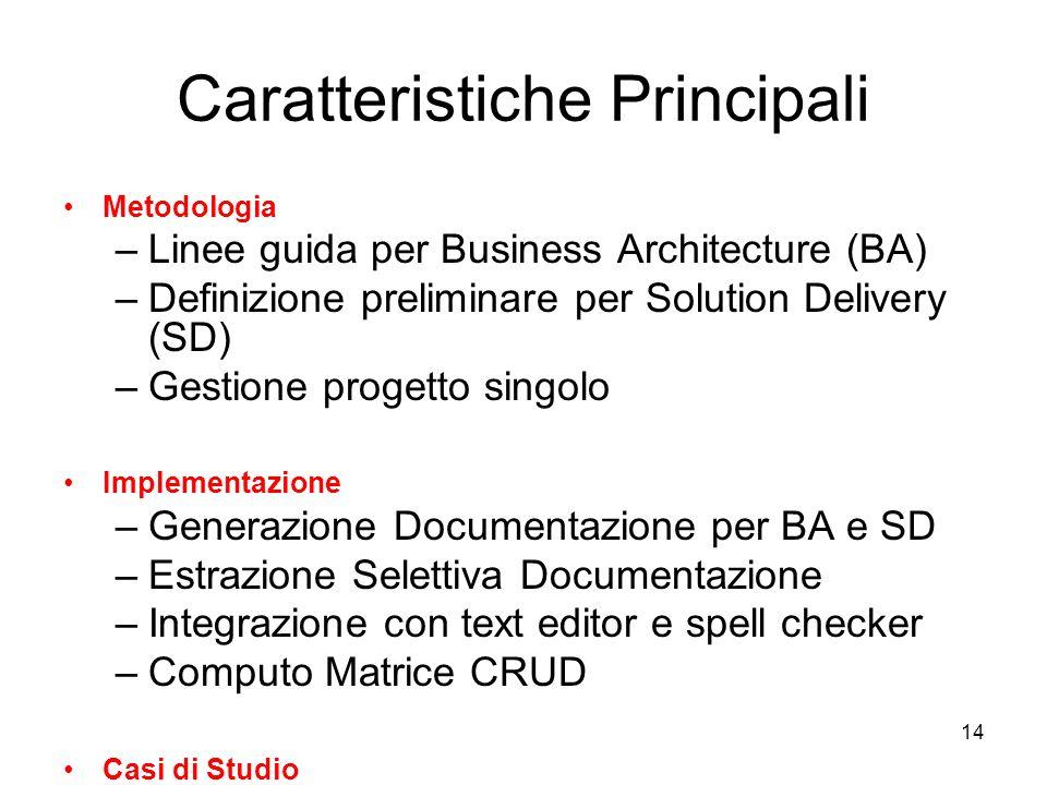 14 Caratteristiche Principali Metodologia –Linee guida per Business Architecture (BA) –Definizione preliminare per Solution Delivery (SD) –Gestione pr