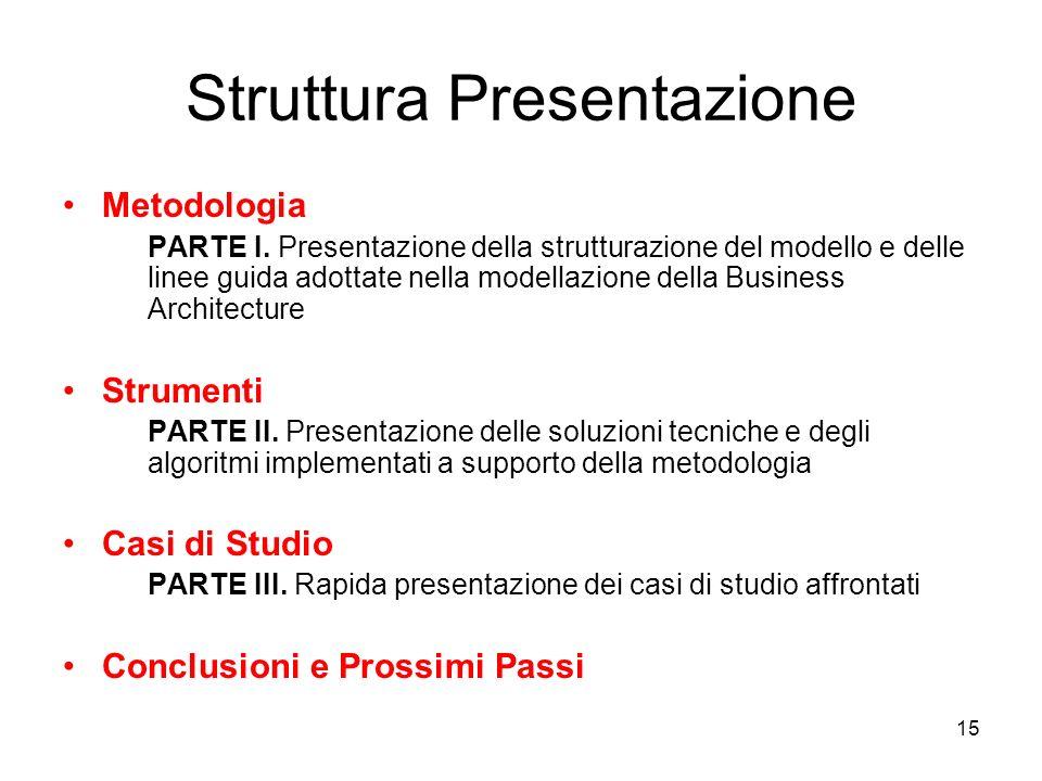 15 Struttura Presentazione Metodologia PARTE I. Presentazione della strutturazione del modello e delle linee guida adottate nella modellazione della B