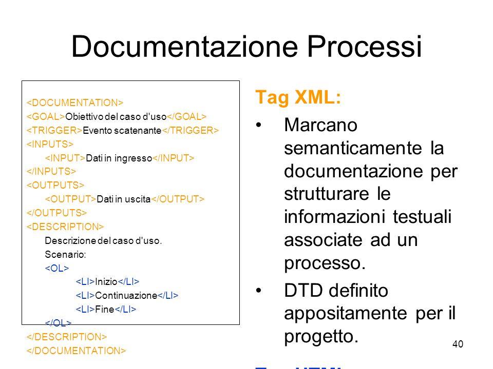 40 Documentazione Processi Tag XML: Marcano semanticamente la documentazione per strutturare le informazioni testuali associate ad un processo. DTD de