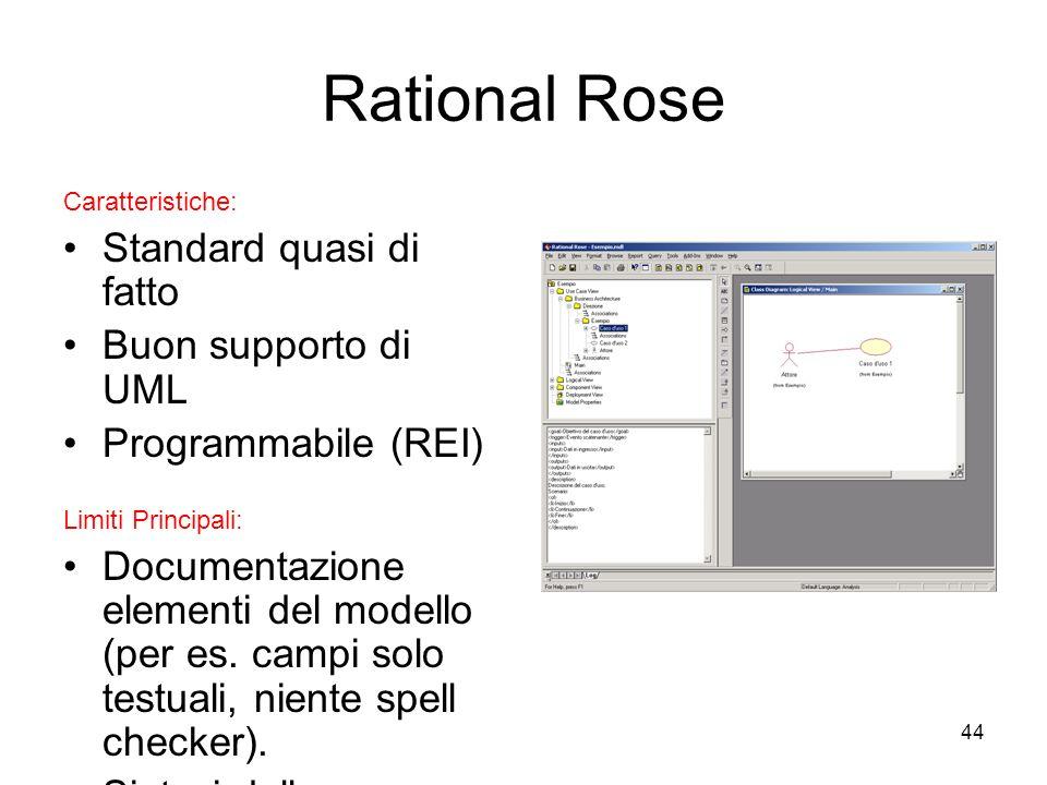 44 Rational Rose Caratteristiche: Standard quasi di fatto Buon supporto di UML Programmabile (REI) Limiti Principali: Documentazione elementi del mode