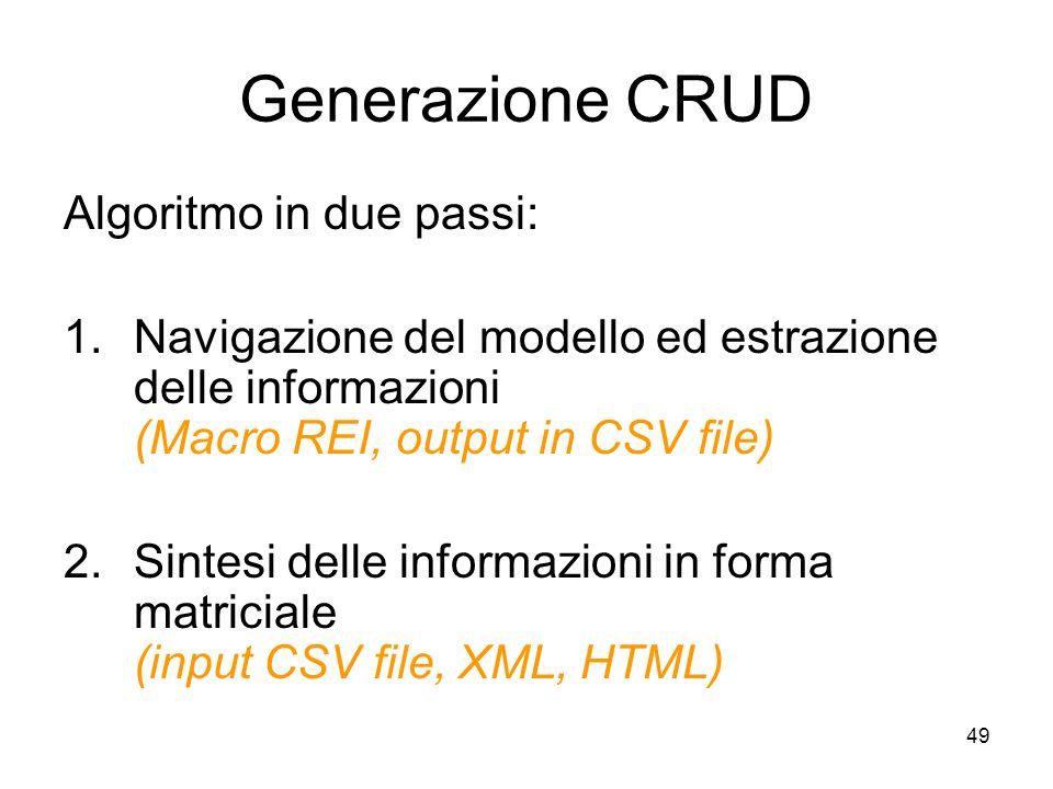 49 Generazione CRUD Algoritmo in due passi: 1.Navigazione del modello ed estrazione delle informazioni (Macro REI, output in CSV file) 2.Sintesi delle
