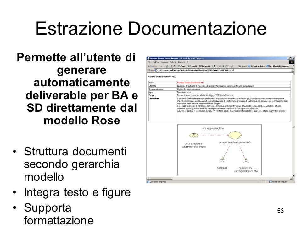 53 Estrazione Documentazione Permette allutente di generare automaticamente deliverable per BA e SD direttamente dal modello Rose Struttura documenti
