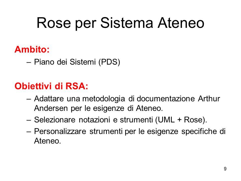 9 Rose per Sistema Ateneo Ambito: –Piano dei Sistemi (PDS) Obiettivi di RSA: –Adattare una metodologia di documentazione Arthur Andersen per le esigen