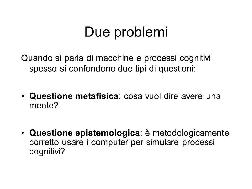 Due problemi Quando si parla di macchine e processi cognitivi, spesso si confondono due tipi di questioni: Questione metafisica: cosa vuol dire avere