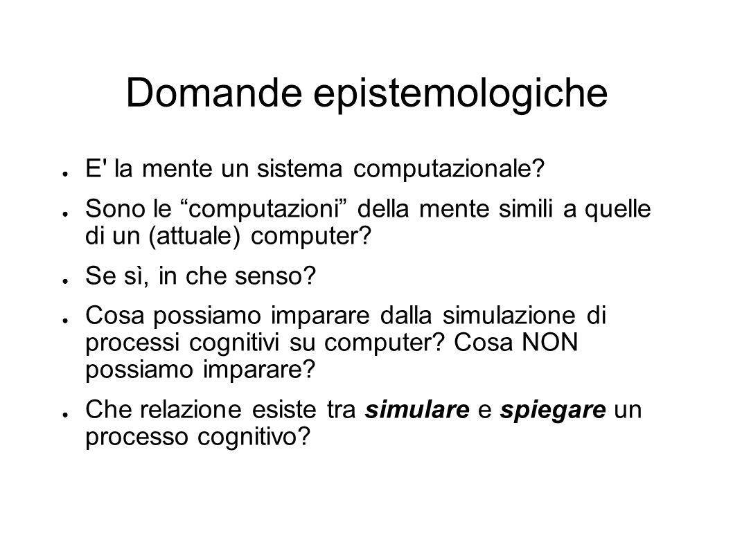 Domande epistemologiche E' la mente un sistema computazionale? Sono le computazioni della mente simili a quelle di un (attuale) computer? Se sì, in ch