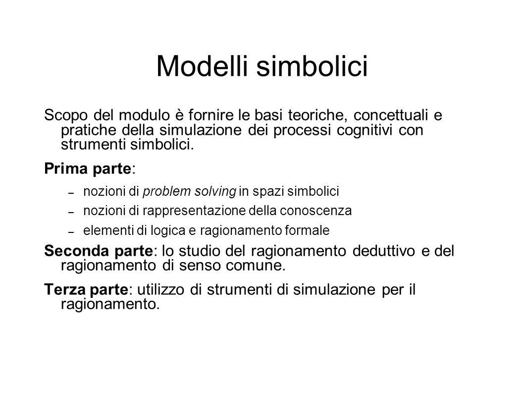 Modelli simbolici Scopo del modulo è fornire le basi teoriche, concettuali e pratiche della simulazione dei processi cognitivi con strumenti simbolici