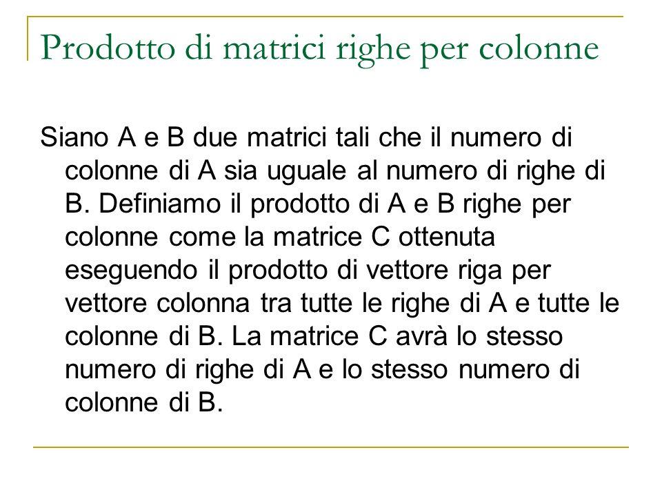 Prodotto di matrici righe per colonne Siano A e B due matrici tali che il numero di colonne di A sia uguale al numero di righe di B. Definiamo il prod