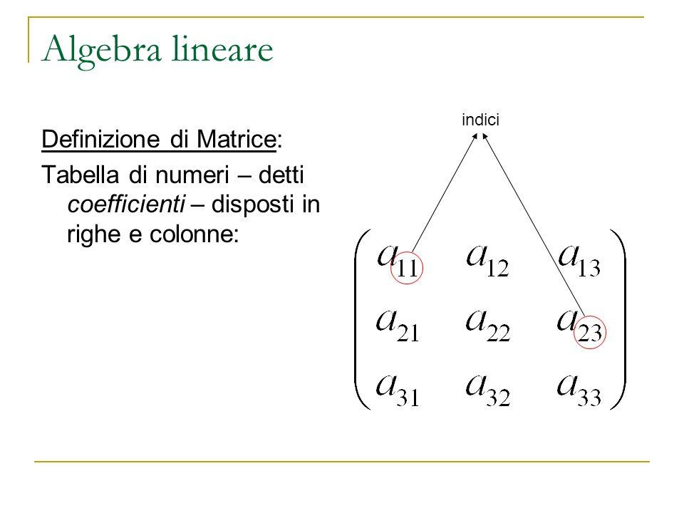 Algebra lineare Definizione di Matrice: Tabella di numeri – detti coefficienti – disposti in righe e colonne: indici