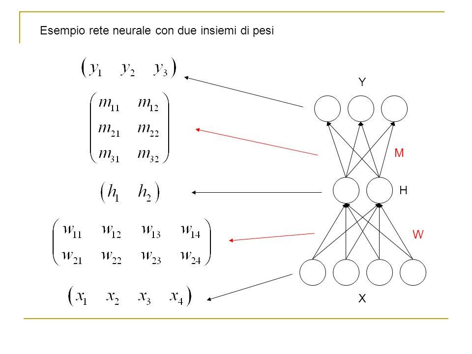 Esempio rete neurale con due insiemi di pesi Y W M H X