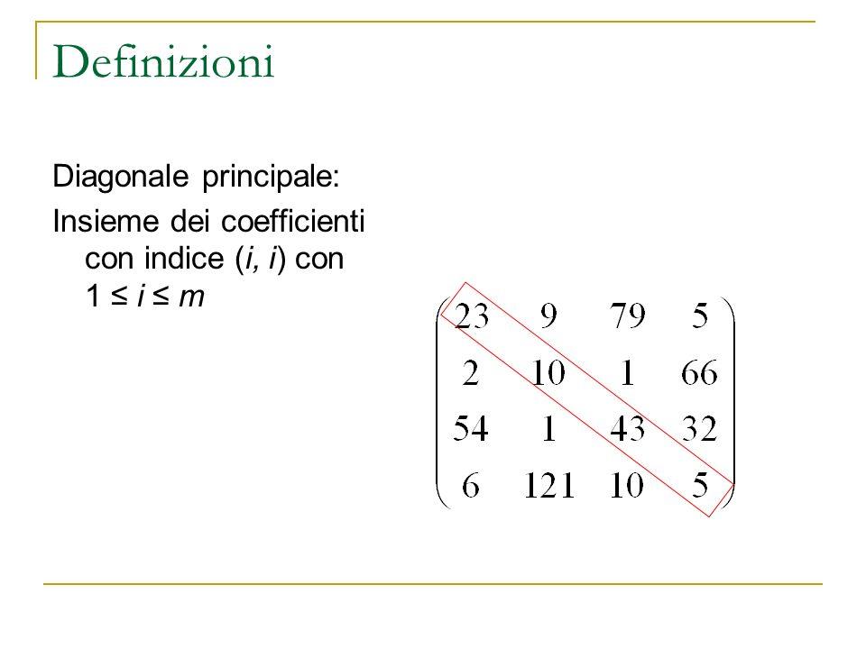 Definizioni Diagonale principale: Insieme dei coefficienti con indice (i, i) con 1 i m