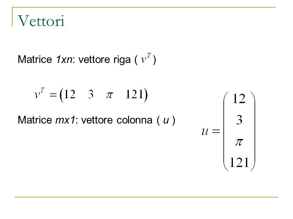 Vettori Matrice 1xn: vettore riga ( ) Matrice mx1: vettore colonna ( u )