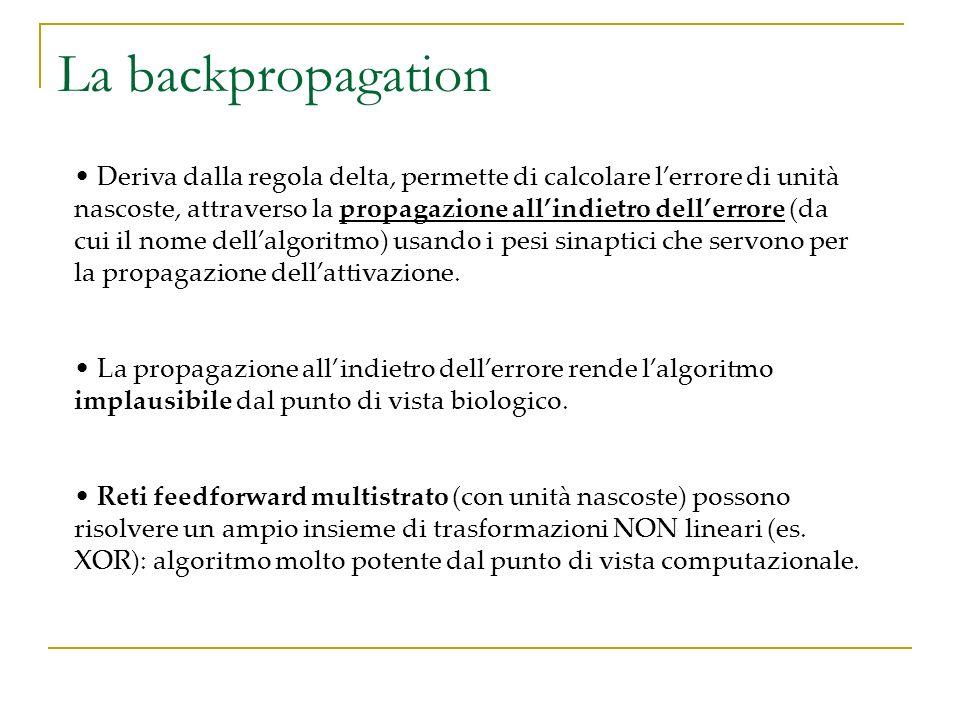 La backpropagation Deriva dalla regola delta, permette di calcolare lerrore di unità nascoste, attraverso la propagazione allindietro dellerrore (da c