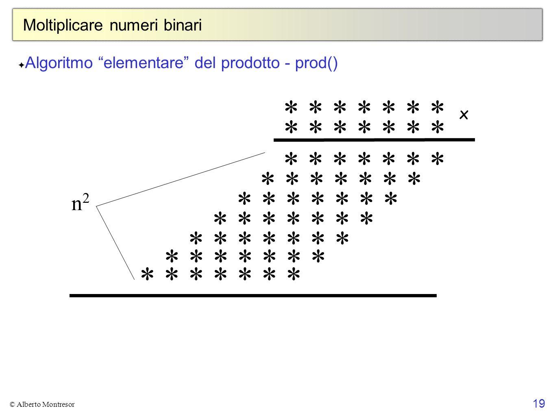 19 © Alberto Montresor Moltiplicare numeri binari * * * * * * * x n2n2 Algoritmo elementare del prodotto - prod()