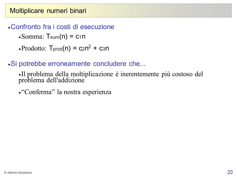 20 © Alberto Montresor Moltiplicare numeri binari Confronto fra i costi di esecuzione Somma: T sum (n) = c 1 n Prodotto: T prod (n) = c 2 n 2 + c 3 n