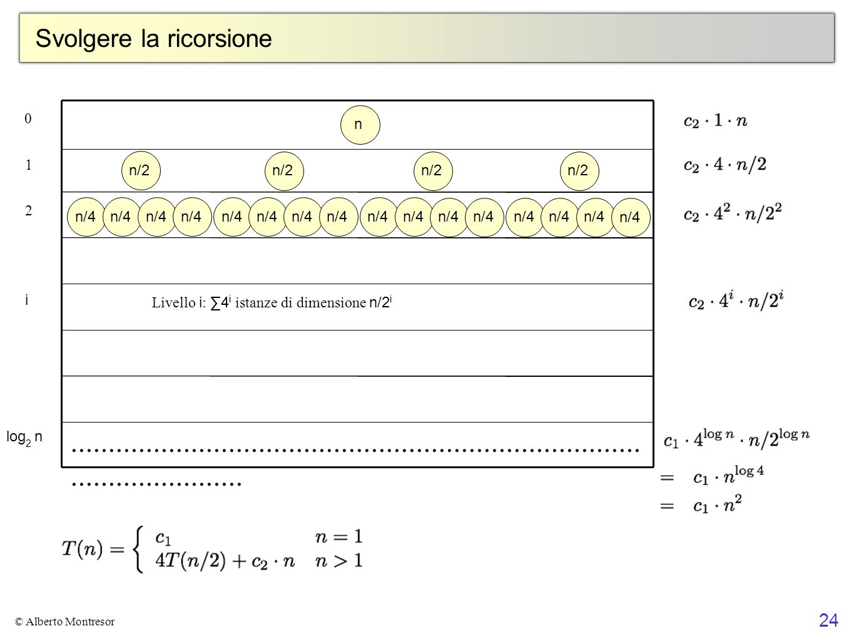 24 © Alberto Montresor Svolgere la ricorsione Level i is the sum of 4 i copies of n/2 i 1+1+1+1+1+1+1+1+1+1+1+1+1+1+1+1+1+1+1+1+1+1+1+1+1+1+1+1+1+1+1+