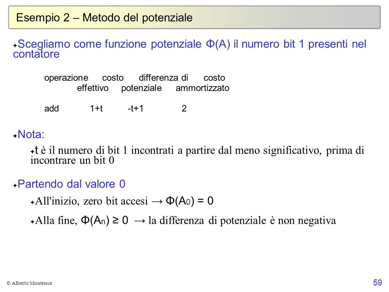 59 © Alberto Montresor Esempio 2 – Metodo del potenziale Scegliamo come funzione potenziale Φ(A) il numero bit 1 presenti nel contatore Nota: t è il n