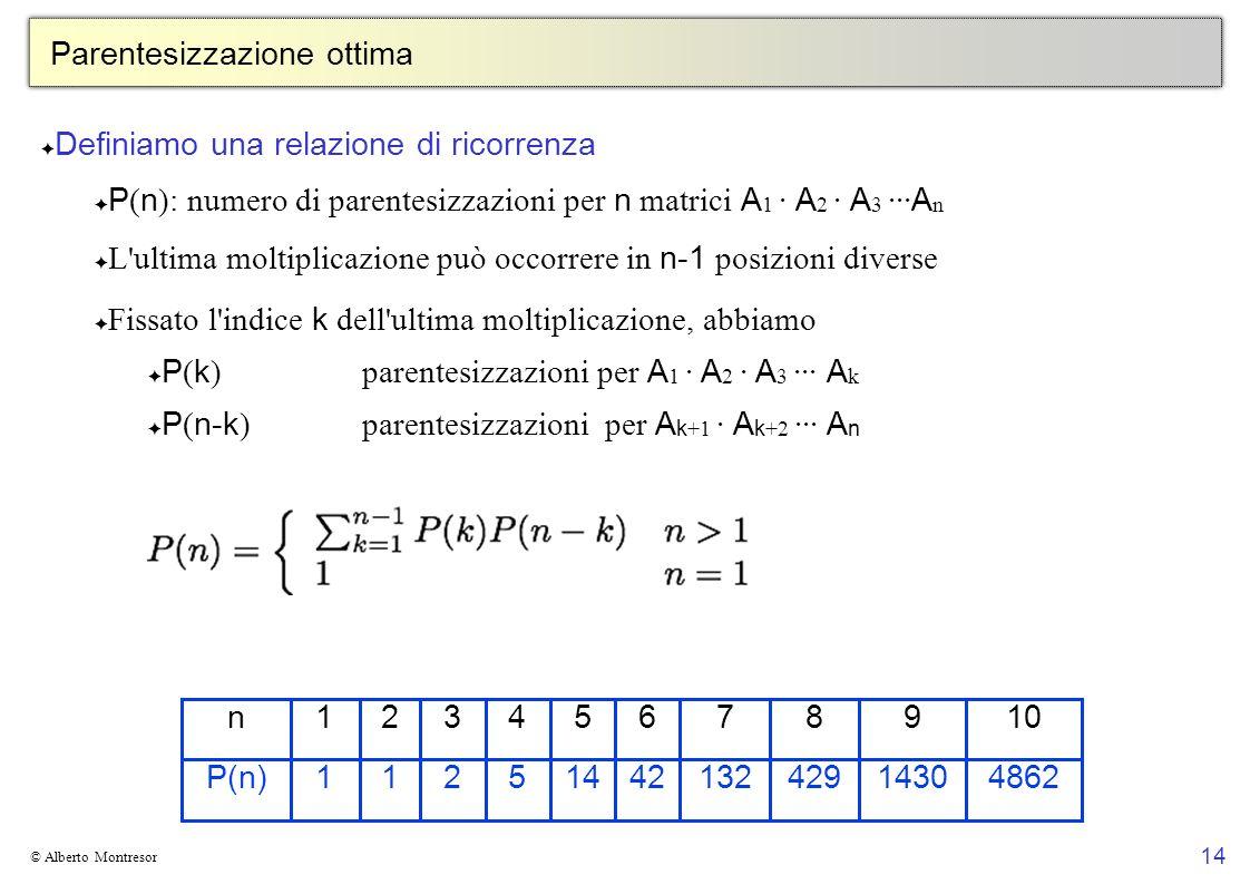 14 © Alberto Montresor Parentesizzazione ottima Definiamo una relazione di ricorrenza P ( n ): numero di parentesizzazioni per n matrici A 1 · A 2 · A