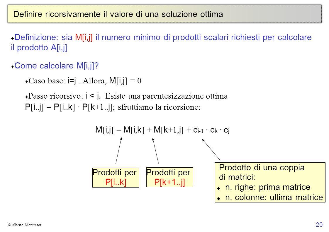 20 © Alberto Montresor Definire ricorsivamente il valore di una soluzione ottima Definizione: sia M[i,j] il numero minimo di prodotti scalari richiest