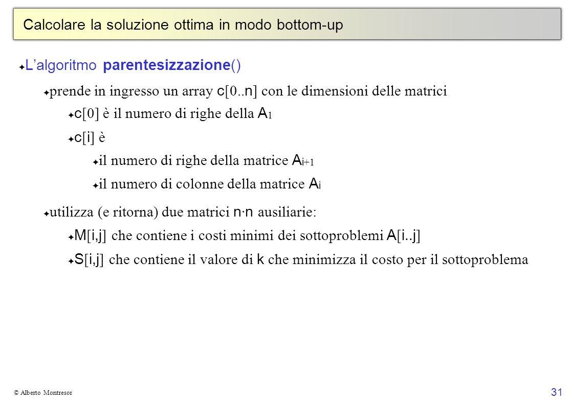 31 © Alberto Montresor Calcolare la soluzione ottima in modo bottom-up Lalgoritmo parentesizzazione() prende in ingresso un array c [0.. n ] con le di