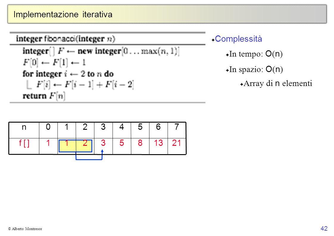 42 © Alberto Montresor Implementazione iterativa 21 7 13 6 8 5 53211f [ ]f [ ] 43210n Complessità In tempo: O ( n ) In spazio: O ( n ) Array di n elem