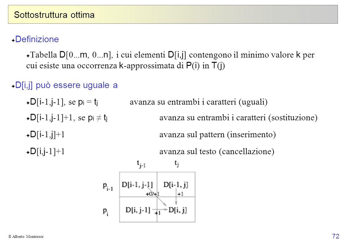 72 © Alberto Montresor Sottostruttura ottima Definizione Tabella D [0... m, 0... n ], i cui elementi D [ i,j ] contengono il minimo valore k per cui e
