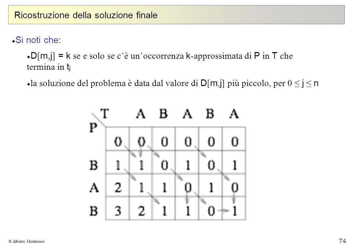 74 © Alberto Montresor Ricostruzione della soluzione finale Si noti che: D [ m,j ] = k se e solo se cè unoccorrenza k -approssimata di P in T che term